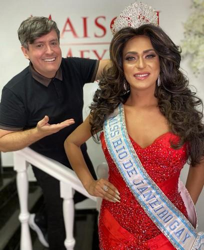 Eduard Fernandes participa de produção fotográfica com Miss Gay Rio de Janeiro Alyssa Drummond