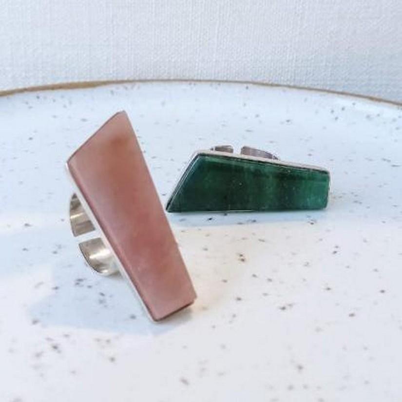 Anéis Quadrilátero em Quartzo Verde e Rosa da Linha Prata